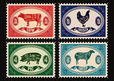 Set of postage stamps with pets royalty free illustration