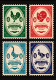 Set of  postage stamps with rooster, turkey, goose, duck Stock Photography