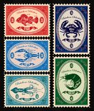 Set of  postage stamps with seafood Stock Photo