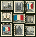 Set of postage stamps on the travel theme. Vector set of postage stamps on the theme of travel in France with the French flag a variety of historical Stock Image