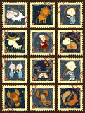 Set of postage stamps with zodiac sings Stock Image