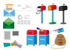 Set of Postal Service objects signs and symbols. Editable Clip Art. Stock Photos