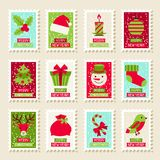 Set of postal stamps with Christmas and New Year. Symbols Stock Image