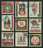 Set of postal stamps on theme of wine vector illustration