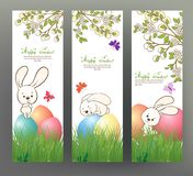 Set of postcard or banner for Happy Easter Day with colored eggs Stock Images