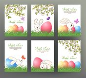 Set of postcard or banner for Happy Easter Day with colored eggs Royalty Free Stock Image