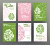 Set of postcard or banner for Happy Easter Day with egg Stock Photography