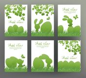 Set of postcard or banner for Happy Easter Day with eggs Royalty Free Stock Photos