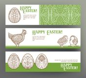 Set of postcard or banner for Happy Easter Day with eggs and hen Stock Photography