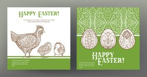 Set of postcard or banner for Happy Easter Day with eggs and hen Stock Photo