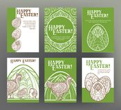 Set of postcard or banner for Happy Easter Day with eggs and hen Royalty Free Stock Photos