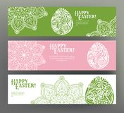 Set of postcard or banner for Happy Easter Day with eggs Royalty Free Stock Image