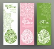 Set of postcard or banner for Happy Easter Day with eggs Stock Photography