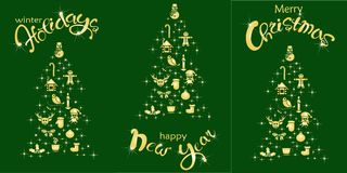 Set of postcard Happy Holidays, Happy New Year, Christmas holiday. Gold lettering and stylized Christmas tree on green, stock vector illustration vector illustration