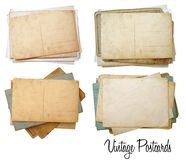 Set of postcards. Four set of vintage postcards stock photography