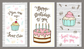 Set of postcards with hand lettering and sweet cake. Stock Photos