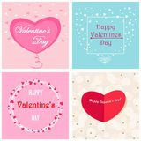 Set of postcards with hearts, happy Valentines day . Vector, greeting cards with hearts and inscriptions and frames Royalty Free Stock Photography