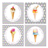 Set of postcards with ice cream in cones. Stock Images