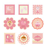 Set of postcards, stickers for girls Stock Photography