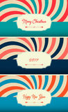 A set of postcards 2017 trend slim design, fashionable colors, vector graphics. Merry Cristmas. Happy New Year! Retro design. Stock Image