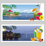 Set of postcards with tropical views Royalty Free Stock Photos