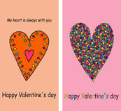 A set of postcards. Valentine's day. Stock Photo