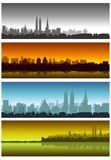 A set of postcards with views of the modern city (vector) Stock Photo