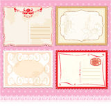 Set of Postcards in vintage design on polka dots p Stock Photos