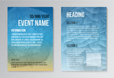 Set of Poster, Brochure Design Templates. Geometric Triangular Polygon Abstract Modern Backgrounds Royalty Free Stock Photography