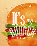 Set Poster burger. Poster burger lettering Its my burger time drawing with color paint on kraft background Stock Images