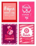 Set of Poster with Congratulations on Women s Day. 8 March, greeting cards dedicated to International holiday for girls vector illustration pink text Royalty Free Stock Photography