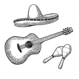 Set for poster mexican carnival. Guitar, maracas and sombrero. Stock Photography