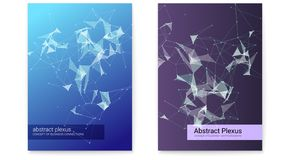 Set of poster, technology business communication. Futuristic plexus shapes, cover with abstract 3D vector illustration. Concept of network, mobile and royalty free illustration