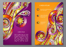 Set of Poster Templates with doddle pattern. Royalty Free Stock Photography