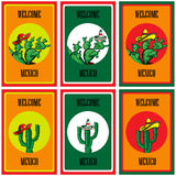 Set of Poster Welcome to Mexico with the image of the Mexican flag, sombrero, spicy chili peppers, maracas and a lot of cacti Royalty Free Stock Photos