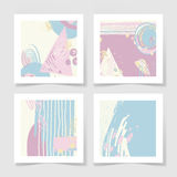 Set of 4 posters with abstract trendy pattern background. Set of 4 stikers with abstract trendy pattern background to wedding, birthday, printable wall art Stock Photography