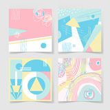 Set of 4 posters with abstract trendy pattern background. To wedding, birthday, greeting card, web design and other, hand draw vector illustration in bright Royalty Free Stock Photography