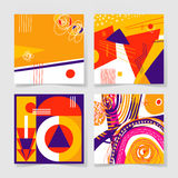 Set of 4 posters with abstract trendy pattern background. To wedding, birthday, printable wall art, greeting card, web design and other, hand draw vector Stock Photos