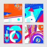 Set of 4 posters with abstract trendy pattern background. To wedding, birthday, printable wall art, greeting card, web design and other, hand draw vector Royalty Free Stock Image