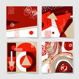 Set of 4 posters with abstract trendy pattern background. To wedding, birthday, printable wall art, greeting card, web design and other, hand draw vector Royalty Free Stock Images