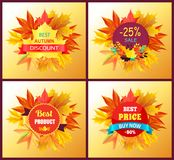 Set of Posters Best Product Award Stamp Price Sale. Set of posters best product award stamp design with maple leaves isolated on background with autumn foliage Royalty Free Stock Photo