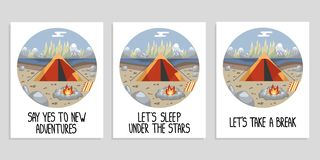Set of posters with black hand drawn lettering and a camping scene. royalty free illustration