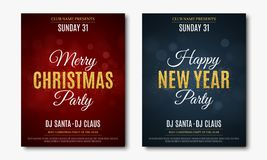 Set posters for Christmas and New Year party. Invitation card. The text is made of gold glitters. Red and blue backgrounds with gl. Are bokeh. The names of the Stock Photo