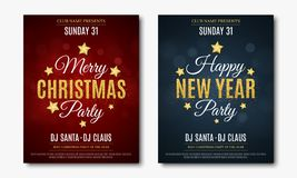 Set posters for Christmas and New Year party. Invitation card. The text is made of gold glitters. Red and blue backgrounds with gl. Are bokeh. The names of the Stock Photos