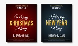Set posters for Christmas and New Year party. Invitation card. The text is made of gold glitters. Red and blue backgrounds. The na. Mes of the DJ and club Stock Images