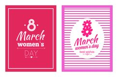 Set of Posters Dedicated to 8 March Best Wishes. Collection of posters dedicated to 8 March, best wishes on International Women s day vector illustration poster vector illustration
