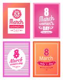 Set of Posters Dedicated to 8 March Best Wishes. Set of posters dedicated to 8 March, best wishes on International Women s day vector illustration poster royalty free illustration