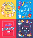 Happy Teachers Day Posters Vector Illustration royalty free illustration