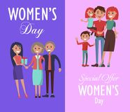 Set Posters Dedicated to Women s Day Celebration Stock Photo