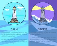 Set of Posters Depicting Lighthouses with Text stock illustration